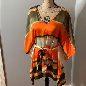 NWT Michael Kors Mandarin tie front blouse, S/M